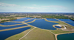 Aerial view of commerical catfish farm