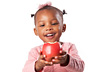 A young girl holding an apple