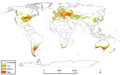 World map of possible spotted lanternfly establishment.