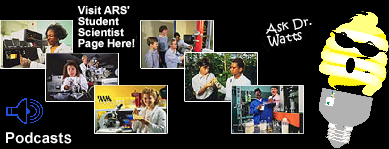 Graphic with photos of student scientists and Dr. Watts icon.