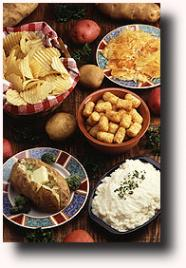 Photograph of various potato dishes, including mashed potatoes.