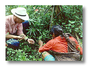 Photo of botanist David Williams with a native farmer in Ecuador.