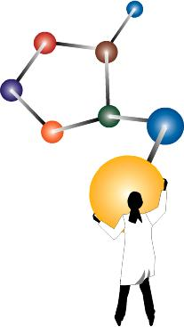 scientist holding molecule graphic