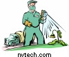 Lawn service employee spraying weeds with chemicals called herbicide. / Copyrighted image used with permission by NVTech Inc.
