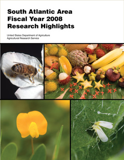 Cover with photos of a honey bee, tropical fruits, a perennial peanut, and silverleaf whiteflies: Click here to view publication online (pdf file).