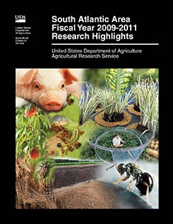 Cover with photos of parasitic wasps, composting, wheat, weevils, peaches, caterpillars, pigs, citrus greening, soybean roots, Iris plants, and peanuts: Click here to view publication online (pdf file).