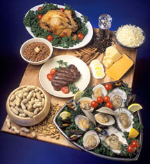 Photo: Foods rich in zinc include chicken, eggs, cheese, oysters, beef, beans and peanuts. Link to photo information