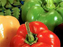 Green, yellow and red bell peppers.