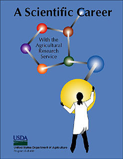 Medium blue cover, illustration of lab-coated scientist holding one atom of a giant model of a molecule, each atom a different color: Click here to view publication online (pdf file).