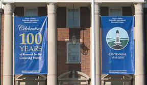 Banners annoucing 100 year celebration.