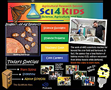 Opening page of Science for Kids site