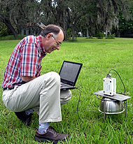 Samuel Coleman uses a hyperspectral spectroradiometer to measure light reflectance from the forage canopy.