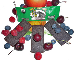 Display of fruit bars and the fruits from which they are made.