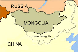 Photo: Map showing Russia, Mongolia and Inner Mongolia in China.