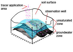 Photo: Diagram of tracers flowing between soil and groundwater zones.