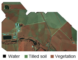 Photo: Mosaic of color infrared aerial photos showing extent of vegetative cover.
