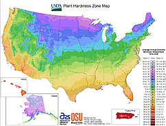 Photo: The new USDA Plant hardiness Zone Map. Link to map.