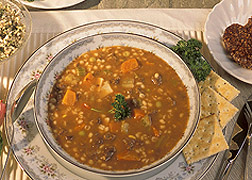 Photo: A bowl of barley soup. Link to photo information