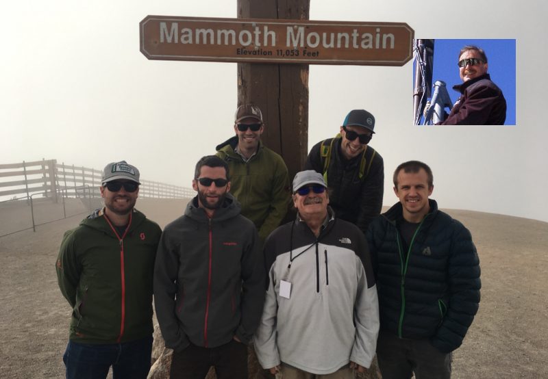Danny Marks (front, third from left) and his research team on top of Mammoth Mountain, 2017