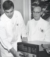 Dr. William Mengeling and Dr. Eugene Pirtle play key roles in the eradication of Hog Cholera in the late 1960's.