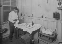 Early laboratory scene at the Hog Cholera Research Station