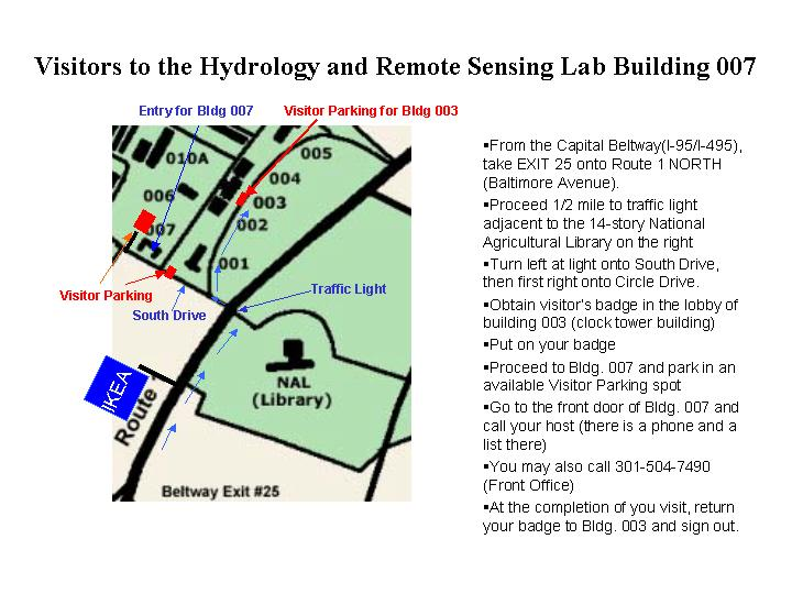 Directions to the Hydrology and Remote Sensing Lab