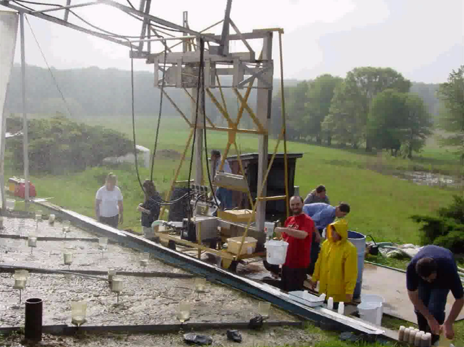 image of researchers working at experimental site