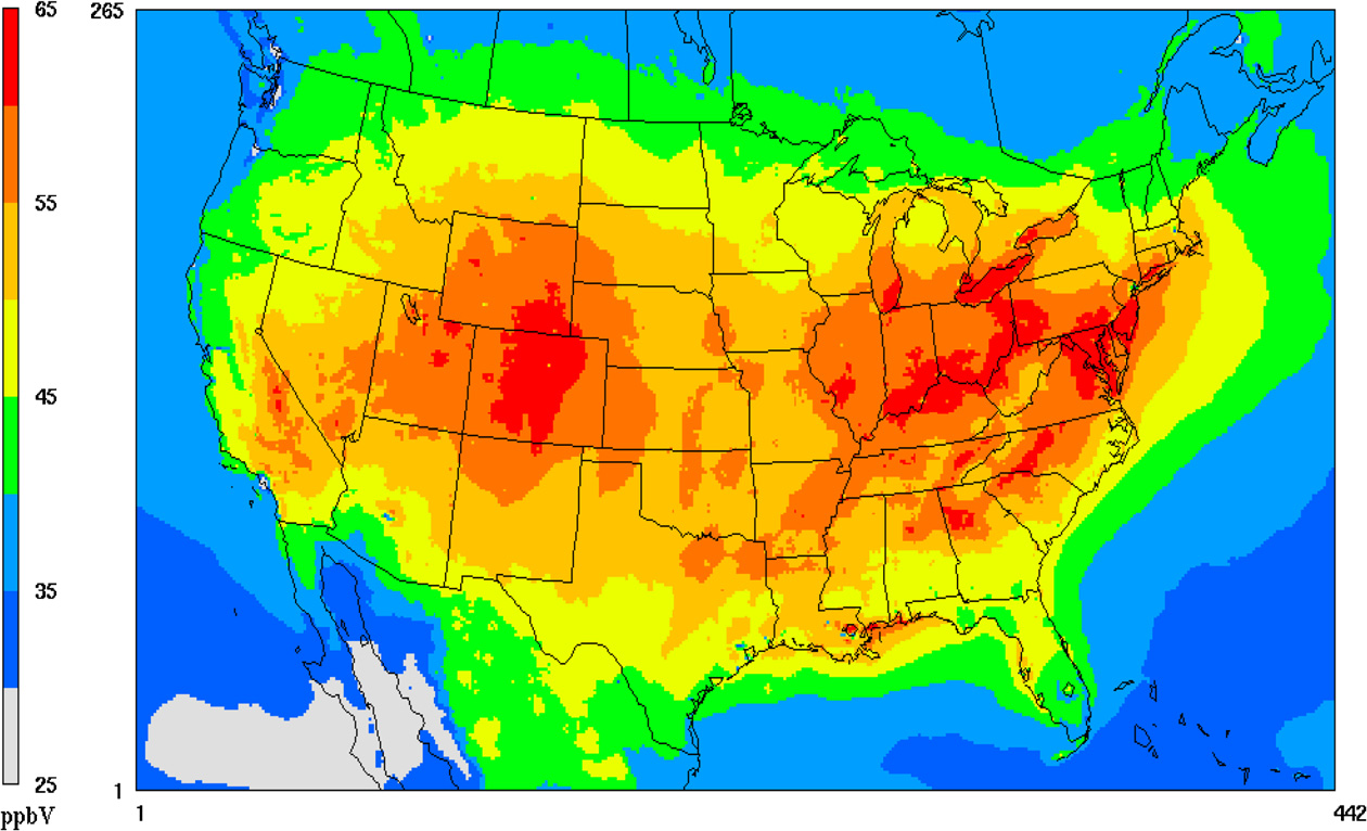 Ozone Effects On Plants USDA ARS - Air quailty map us