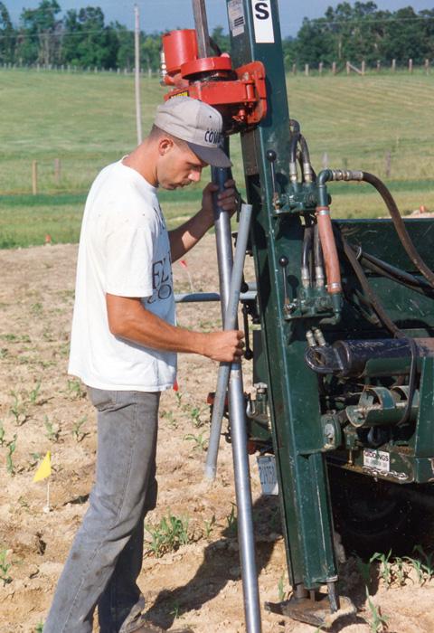 Employee sampling soil