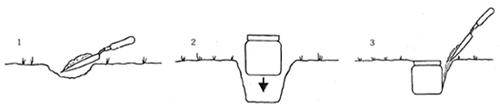 Diagram of how to place the small container in the soil so that the top is level with the ground.
