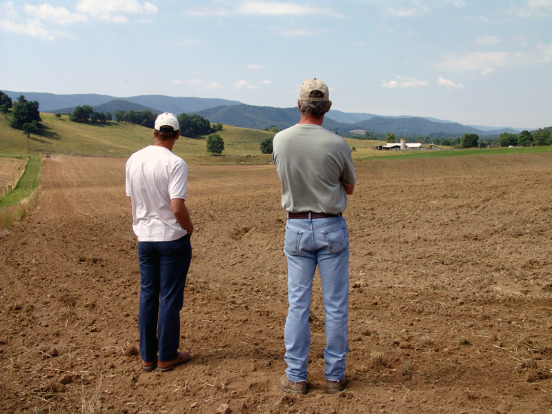Scientists watch as forage plots are planted