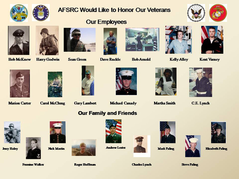Photos of AFSRC employee and family Veterans