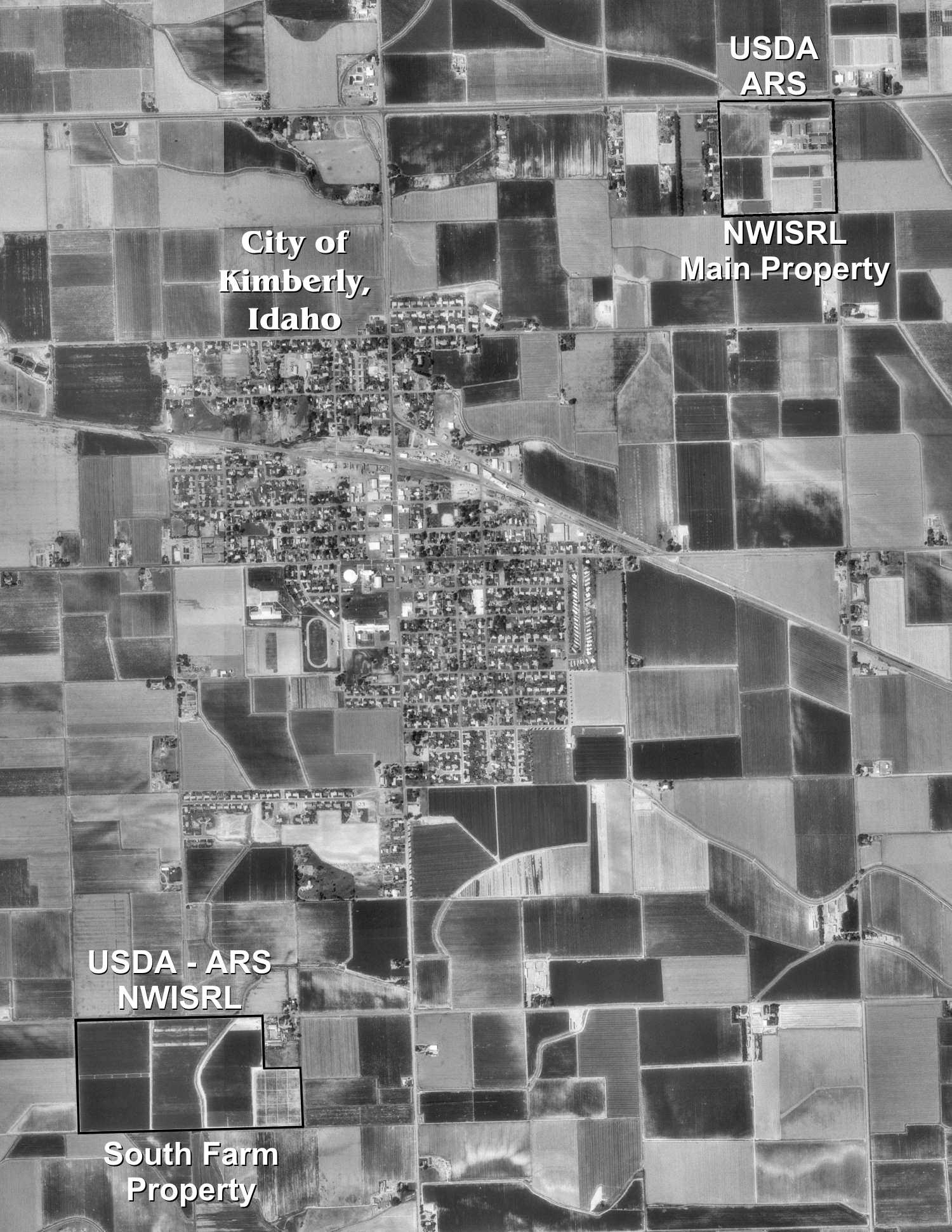 Satellite view of area showing NWISRL main lab and South Farm