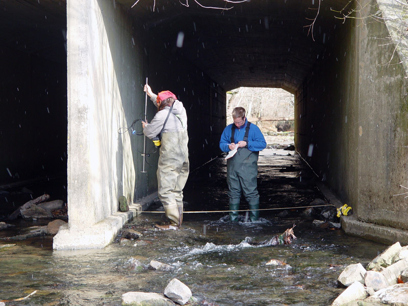 Employee and graduate student setting up equipment to measure stream flow