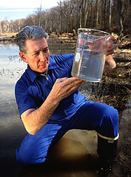 Ronald Fayer leads a project to determine the sources of cryptosporidium in surface waters and develop techniques for accurate detection of these organisms that infect humans, livestock, and wild animals. Photo by Keith Weller.