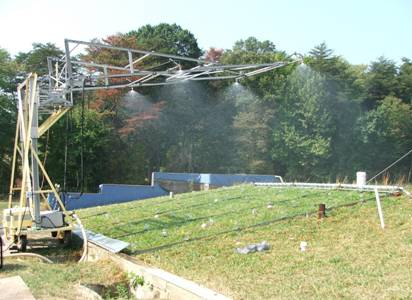 Rainfall simulation over runoff plots at the EMFSL Patuxent lysimeter site. Photo: A. K. Guber.