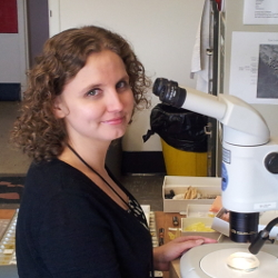 Photo of Alicia Hodson at the microscope
