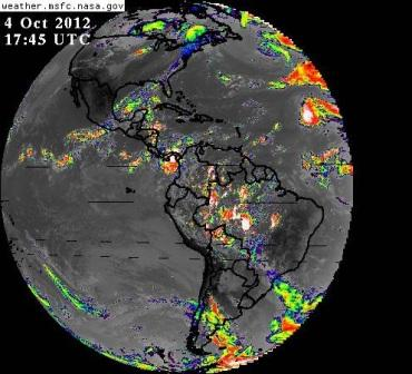 NASA infrared photo of Earth, showing temperature variations in the Western Hemisphere.