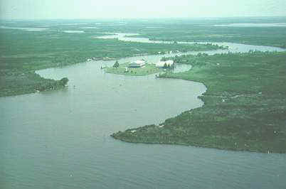 The conservation camp at the mouth of  Bird Island bayou can be seen on Marsh Island.