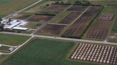 Aerial photo of station facilities and farm land.