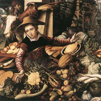 1567 Pieter Aertsen - Market Woman with Vegetable Stall