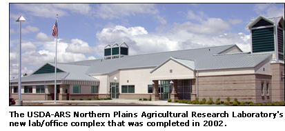 Photograph of the USDA-ARS Northern Plains Agricultural Research Laboratory's new lab/office complex that was completed in 2002.