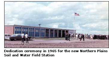 Photograph of the dedication ceremony in 1965 for the new Northern Plains Soil and Water Field Station.