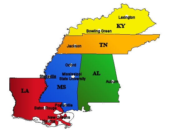 Mid South Area Map