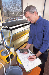 Photo: Using a small-scale laboratory tank, chemical engineer Leland Dickey separates corn and extract liquid. The extract liquid will be further processed to separate out the zein. Link to photo information