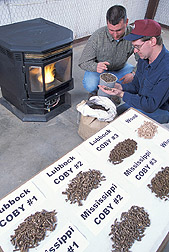 Photo: Clint Sanders  (left) and Greg Holt  evaluate eight different pellet fuels for efficiency, pollutant emissions, and ease of handling. Link to photo information
