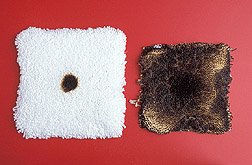 Photo: One carpet swatch treated with maleic acid and one untreated swatch. Link to photo information