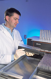 Technician conducts a radioimmunoassay: Click here for full photo caption.