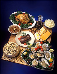 Foods rich in zinc include chicken, eggs, cheese, oysters, beef, beans, and peanuts: Click here for photo caption.