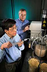 Chemical engineer (left) and research leader monitor a new process for converting barley into fuel ethanol: Click here for full photo caption.